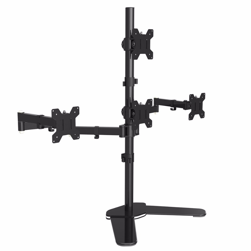Suptek Quad Arm LCD LED Heavy Duty Monitor Stand Desk Mount Bracket 3 + 1 free Stand / Holds Four Screens up to 27 ML6864