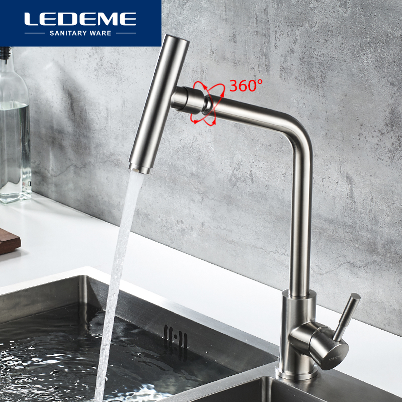 LEDEME Kitchen Faucets Mixer 360 Degree Selection of Faucets Kitchen Faucet Stainless Steel Sink Tap Water