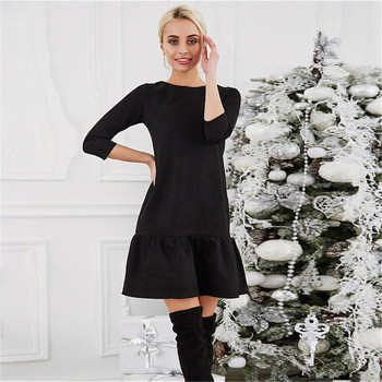 AiiaBestProducts Women Suede Casual Three Quarter Sleeve Dress 2