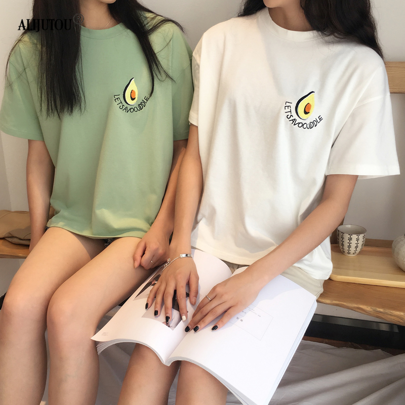 Avocado Embroidery T Shirt Women Cotton Summer O-Neck Cute T-Shirt Casual Tops Tee Women Short Sleeve Female White Green Tees