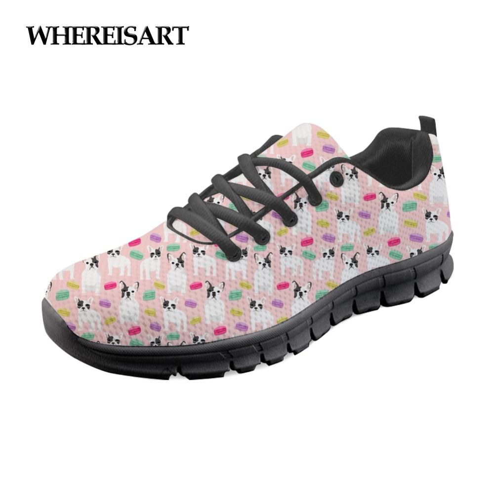 WHEREISART Bulldog Lovely Animal Dog Pattern Shoes Sneakers Women Summer Casual Ladies Flats Mesh Shoes Woman Chaussures Femme