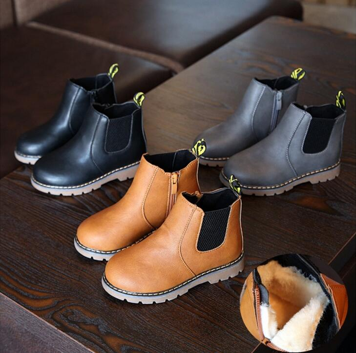 2018 nuevos zapatos de otoño para niños PU cuero impermeable Martin botas calientes niños nieve botas niñas niños botas de goma zapatillas de moda