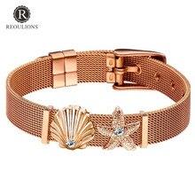 ФОТО fashion elegant women keeper stainless steel mesh charms diy bracelet sea shell starfish ladies beach bracelet valentine's gift
