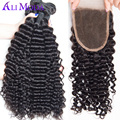 8A Malaysian Curly Hair With Closure Vip beauty malaysian deep curly wave Hair 4 bundles malaysian kinky curly hair with closure