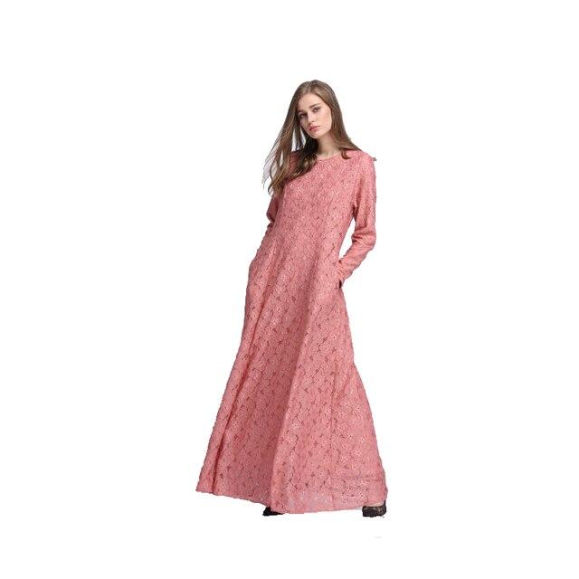 2017 Новых Мусульманских Женщин Абая Платье Аравия одежда турции Исламская Мода Розовый Полный Шнурок длинные платья турецкий халат vestidos longos