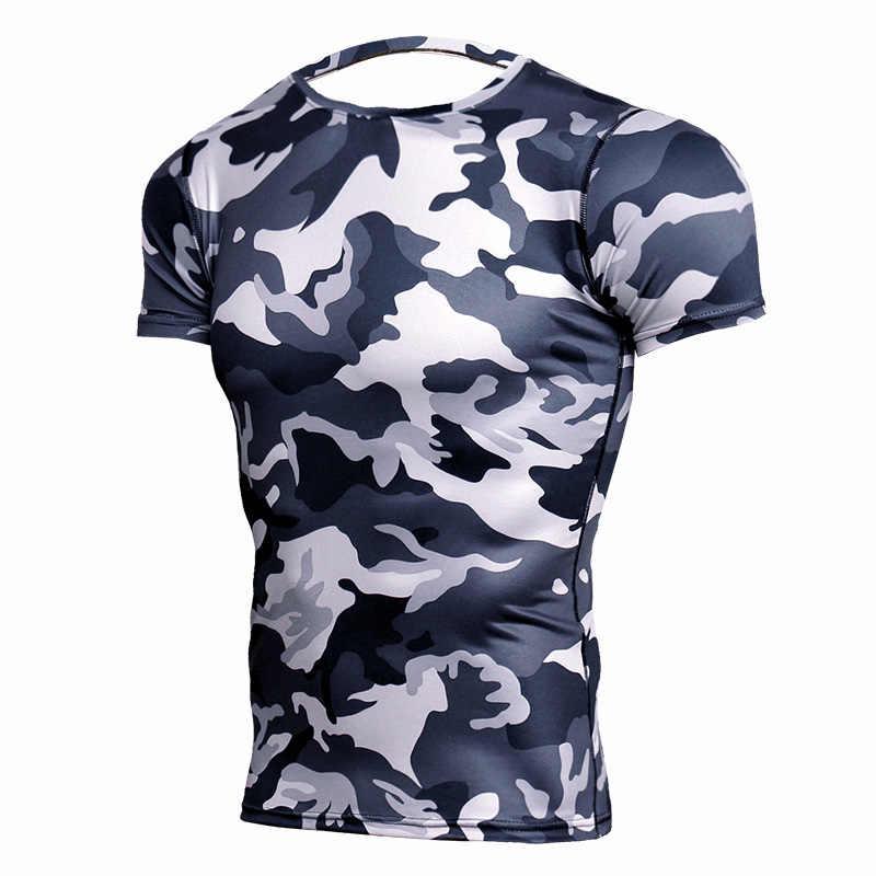 2018 新 Tシャツシャツ男性圧縮シャツボディービル Tシャツトレーニング Tシャツ MMA ラッシュガード迷彩男性 Tシャツ