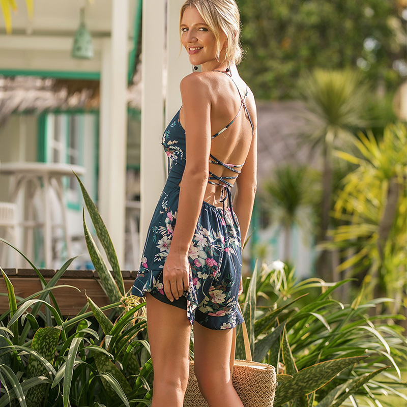 2018 Summer Floral Printed Women Short Jumpsuits Playsuits Deep V-neck Sling Wide Legs Female Bodysuits Sexy Boho Beach Shorts