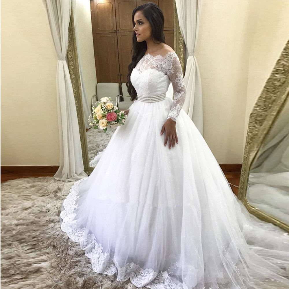 Vestido De Noiva 2019 Gorgeous Lace Long Sleeves Wedding Dresses Off The Shoulder Tulle Bridal Gown Custom Made Robe De Mariee