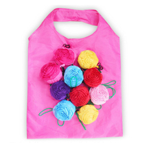 60PCS / LOT Shopping Bag Rose Flowers Foldable Green Environmental Storage Reusable Tote Pouch Handbags