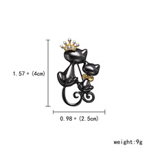 Rinhoo Pins and brooches Double Cat couple enamel pin Badges Hat Backpack Accessories Lovers jewelry Gift for lover Black CAT