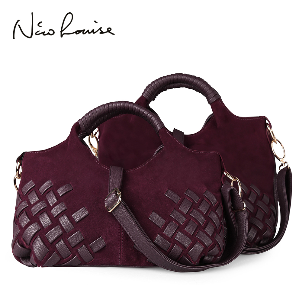 Latest Women Weave Suede Split Leather Handbag Female Leisure Casual Lady Crossbody Shoulder Bag Messenger Top-handle Bags Sac