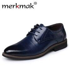 Merkmak Tamaño Grande 37-48 zapatos de Cuero de Oxfords Hombres Zapatos de Moda Casual En Punta Pisos de Negocios Formal Masculino Del Vestido de Boda Superior ventas al por mayor