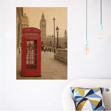 Cabina de teléfonos de Londres pósteres vintage decoración del hogar pegatinas de pared para sala de estar decoración pintura arte mural bricolaje calcomanías de pared