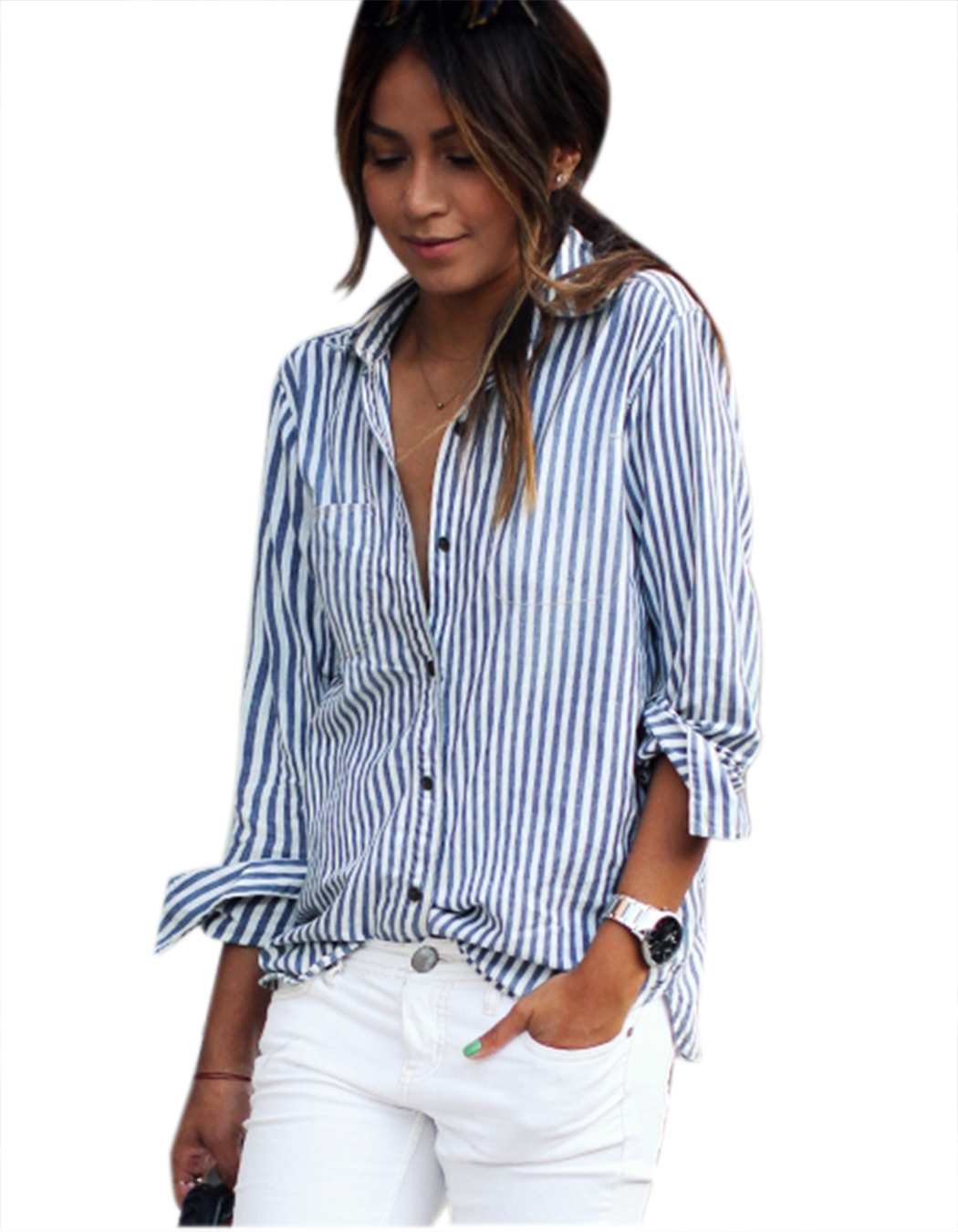 White And Blue Striped Blouse Fashion Ql