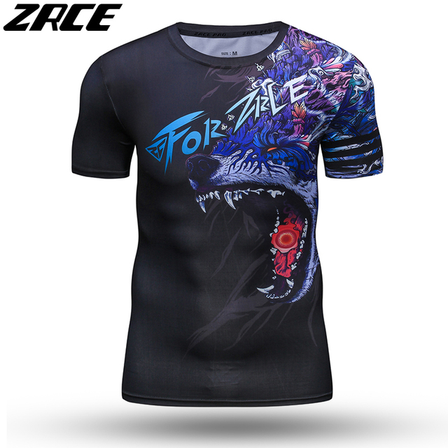 ZRCE 3D Print Wolf Men Shirt With Arm Sleeve O-neck Summer Funny Cosplay Costume Stranger Cool Things Streewear Skinny Tee Shirt 4