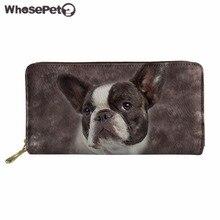 WHOSEPET Womens Purse Bulldog Print Wallet PU Leather Organizer Wallets Long Style Clutch Purses Zipper for Ladies Male