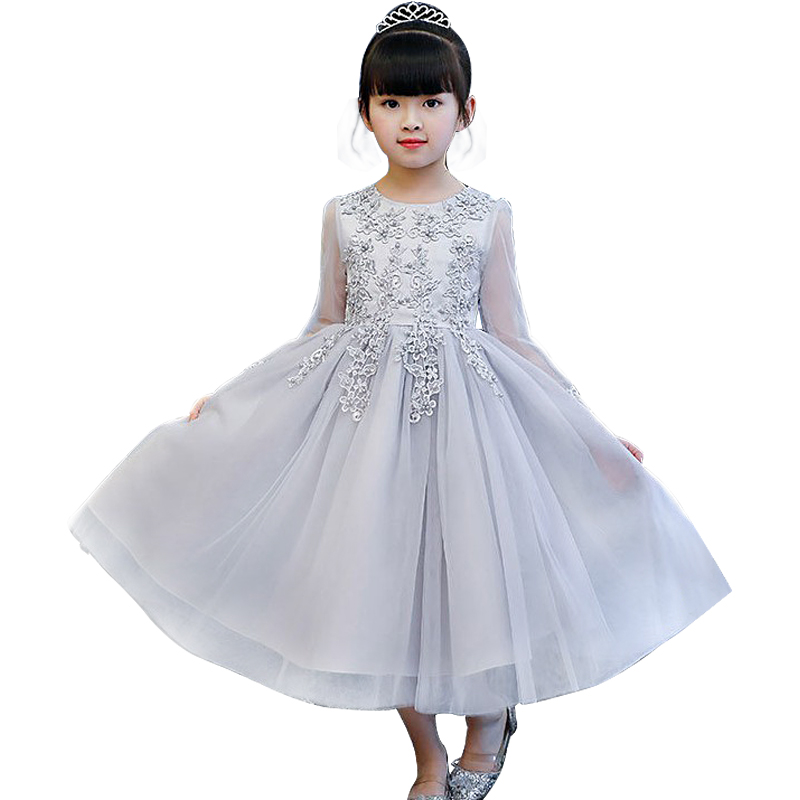 2018 Autumn   Flower     Girls     Dresses   For Wedding pink&gray Lace   Girl   Formal Christmas Party   Dress   Princess Gown Kids Long Vestido