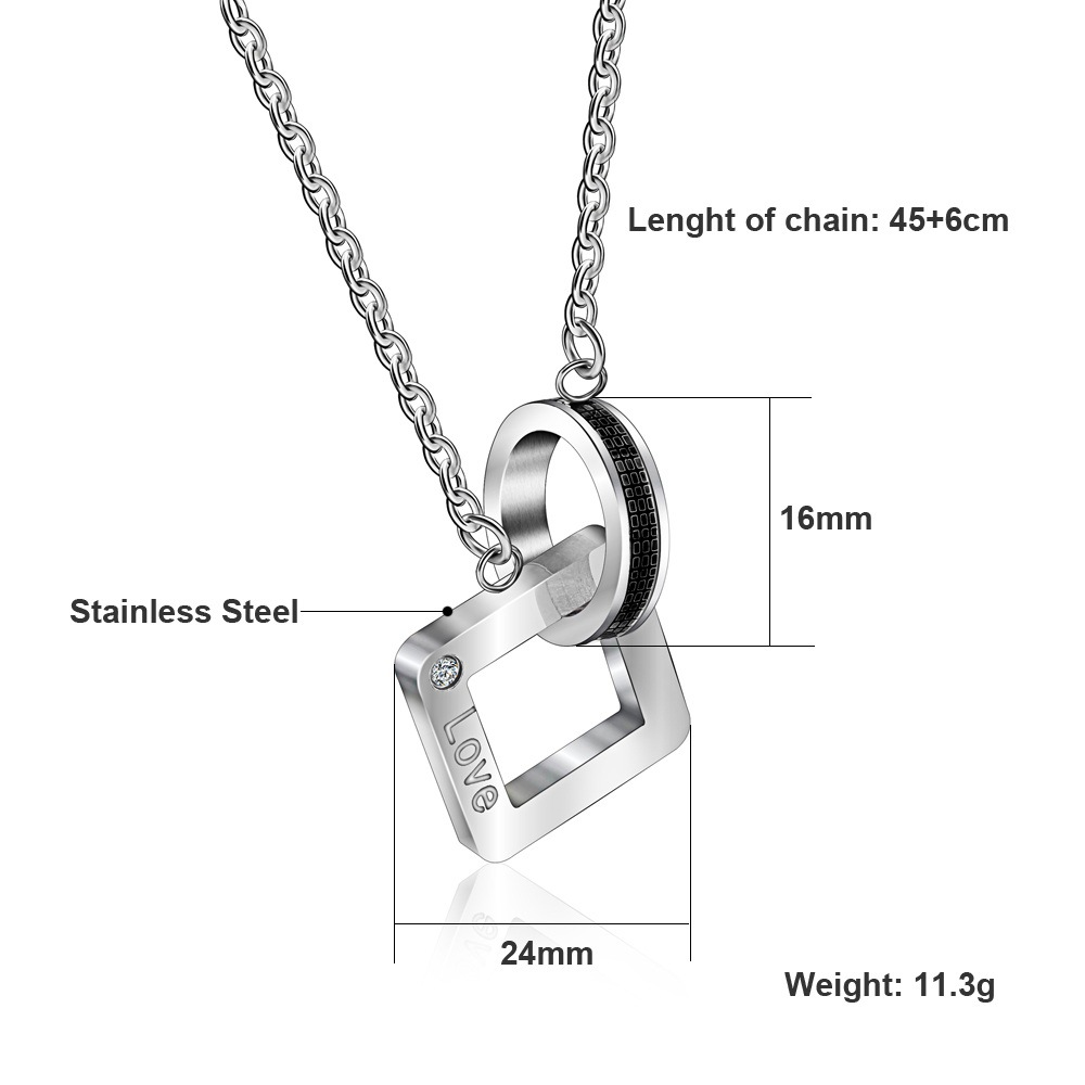 black silver necklace heart pendant fashion joint stainless jewelry steel split fate products couple love new set