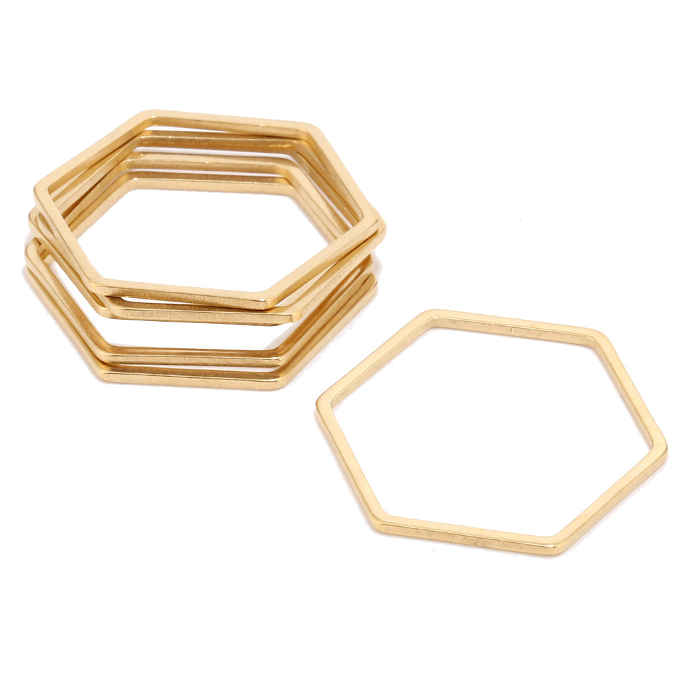10pcs 20mm Gold Earring Findings Stainless Steel Hex Shape Connectors Ring for DIY Jewelry Accessories
