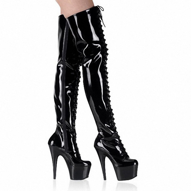 LAIJIANJINXIA Night Club Party Queen Boots Over The Knee Boots High Heels Women Boots Sexy Plus Size 46 Thin Heels Shoes A-034