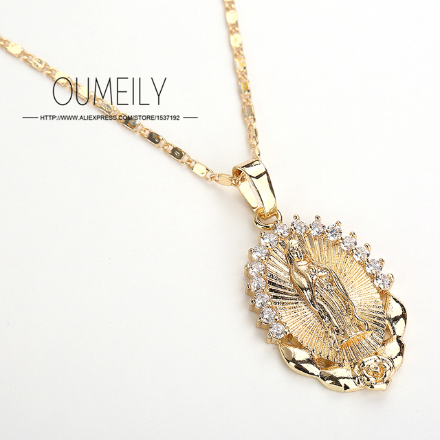 OUMEILY Fashion Jesus Necklace For Women Men Statement Vintage Pendant Holiday Christian African Beads Gold Color Accessories 1