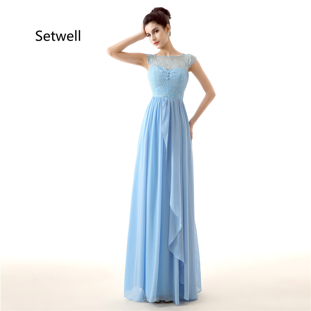Setwell 2017 Summer Chiffon   Bridesmaid     Dresses   Illusion Neckline Lace   Bridesmaid     Dress   Blue Simple   Bridesmaid   Gowns