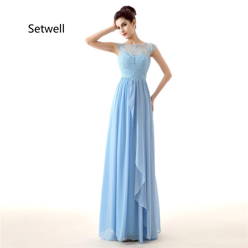 Setwell 2017 d'été en mousseline de soie robes de demoiselle d'honneur Illusion décolleté dentelle robe de demoiselle d'honneur bleu Simple robes de demoiselle d'honneur