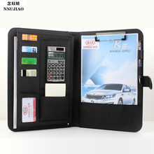 A4 Black Deluxe Executive Conference Folder Calculator Ring Binder Portfolio Men Wallet Clutch Passcard Bag Money