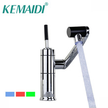 KEMAIDI RU Kitchen LED Faucet torneira da cozinha Cold&Hot Water Tap Faucet Vegetable Washing Basin Rotating Faucet Mixer