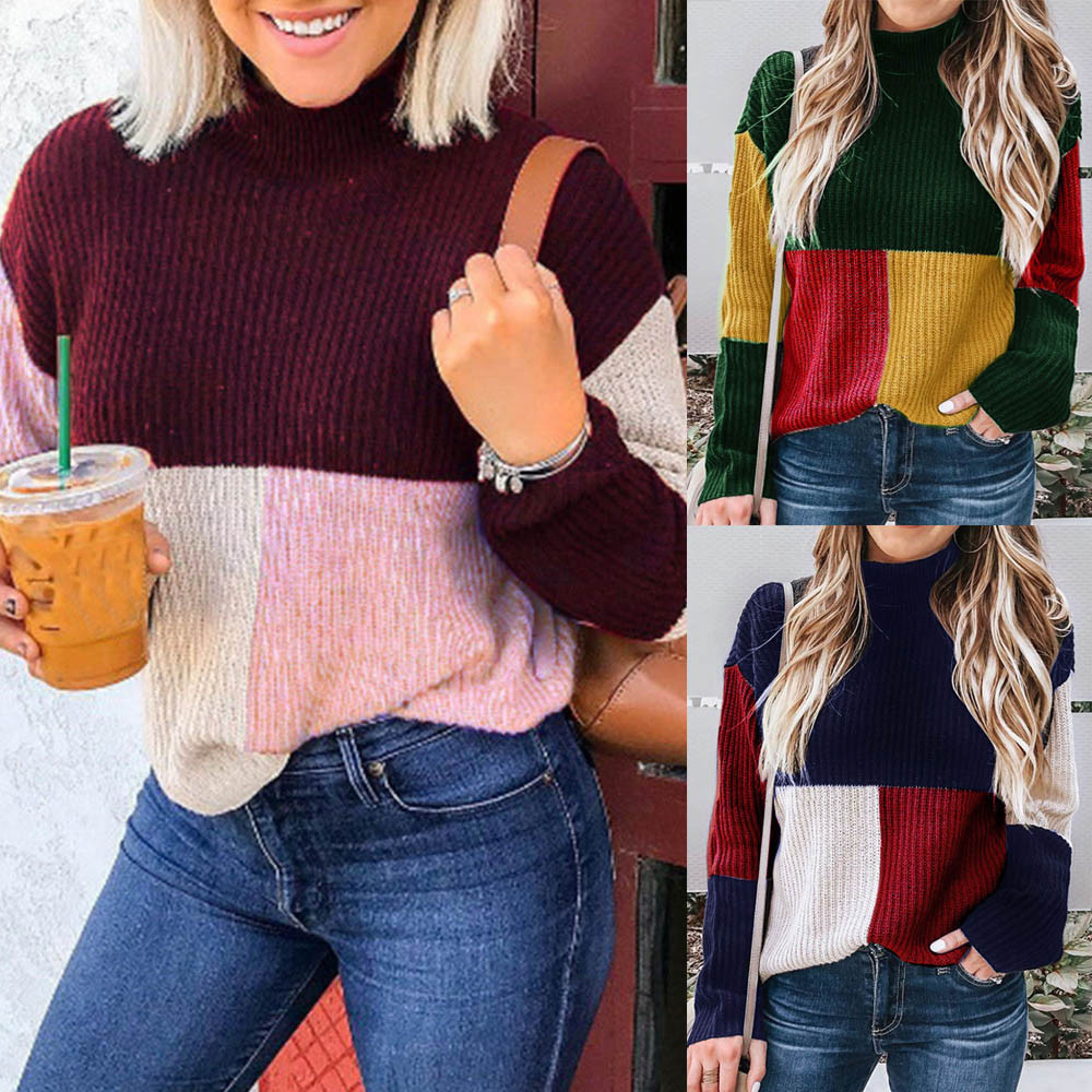 Colorblock Stand Knitted Sweater Jumper Long Sleeve Temperamental Pullover Top Blouse  luxury sweaters women designers sueter