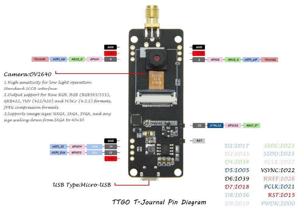 TTGO T-Journal ESP32 OV2640 Camera Module Development Board SAM Wifi 3dbi  Antenna 0 91 OLED Camera Board