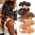 1 Bundle Long Brazilian Virgin Body Wave Real Human Ombre Weft Hair Extesions