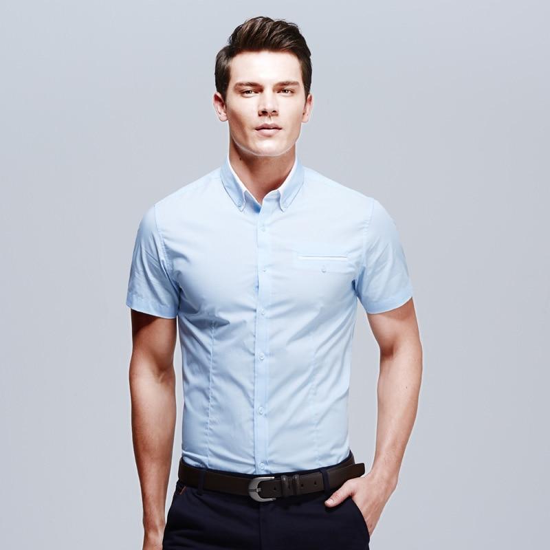 2015 New Brand Mens Shirts Short Sleeve Casual Shirt Men Slim Fit ...