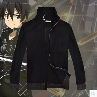 New Sword Art Online 2 Kirito Cosplay Costume Black Casual Wear Coat Jacket New Free Shipping