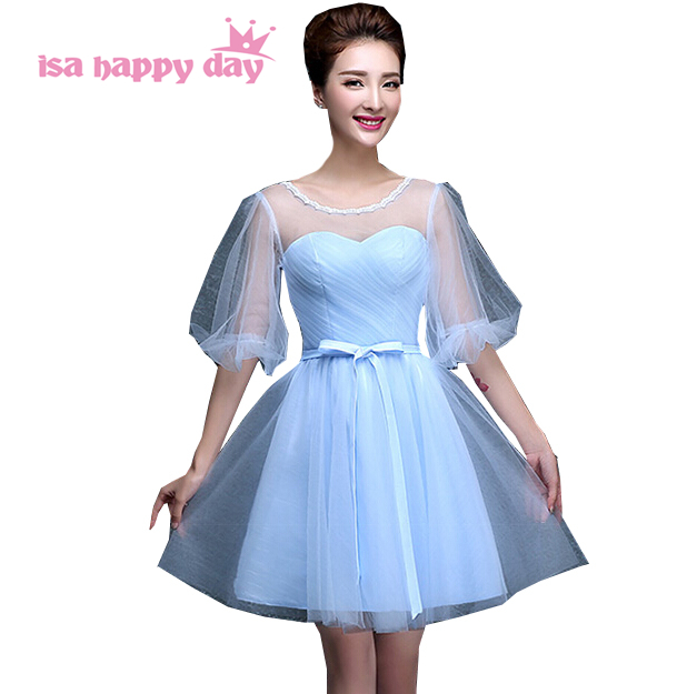 Robe De Soiree Occasional Sexy Illusion Elegent Short Princess Puffy Teen Prom Dresses Gowns Party Dress For Woman H3406
