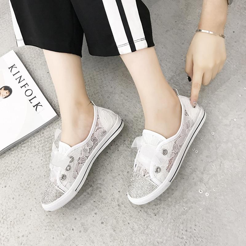 Bud Noir Casual Chaussures Simple Femmes Strass Mode Soie Nouvelle Confortable 2018 Plates Automne Maille blanc Respirant wI6q8npx