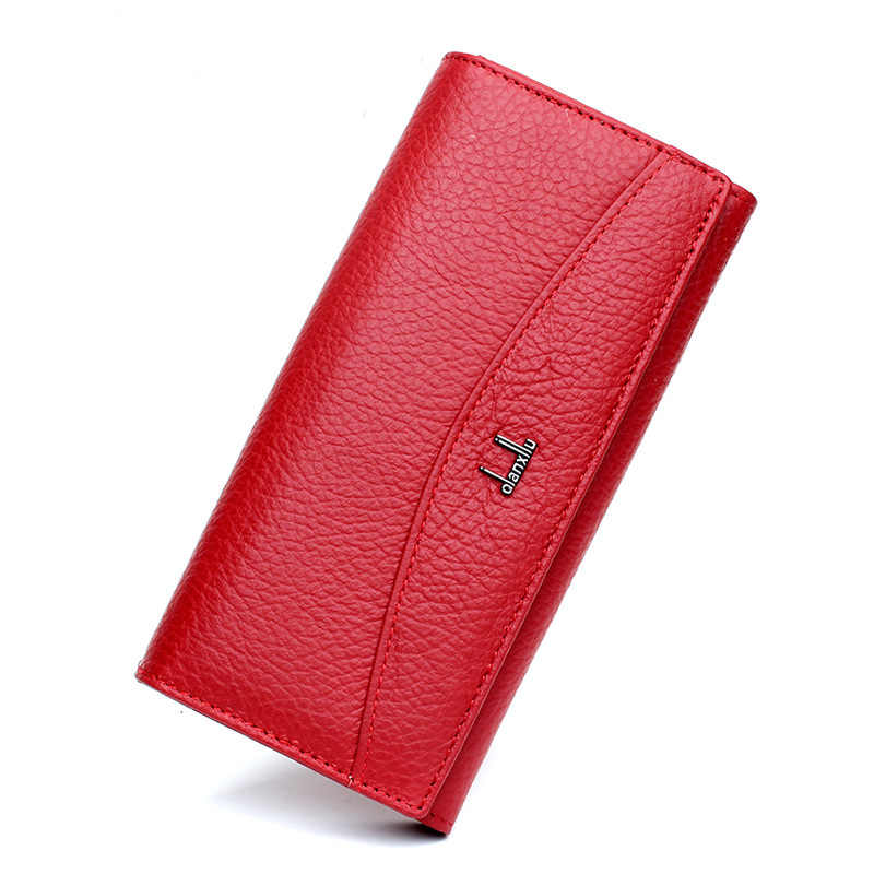 Genuine Leather Women Wallet Female Long Clutch Lady Wallet Portomonee Brand  High Quality Money Bag Hasp Cowhide Coin Purse