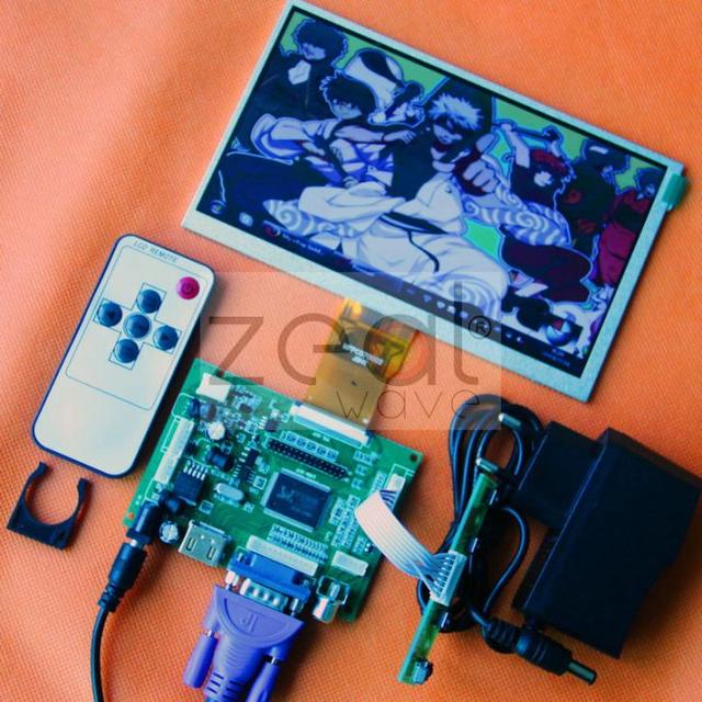 HDMI/VGA/2AV+Reversing Driver Board+DC 12V1A Power Supply +7inch 800*480 AT070TN90 AT070TN92 AT070TN94 LCD Display  165*100MM