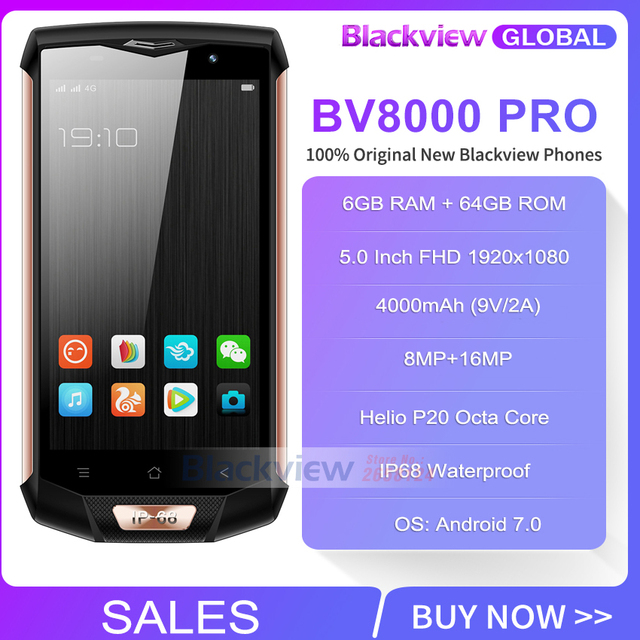 Blackview BV8000 Pro Mobile Phone IP68 Waterproof Android 7.0 5.0″FHD MTK6757 Octa Core 6GB+64GB 16MP Side Touch NFC Smartphone