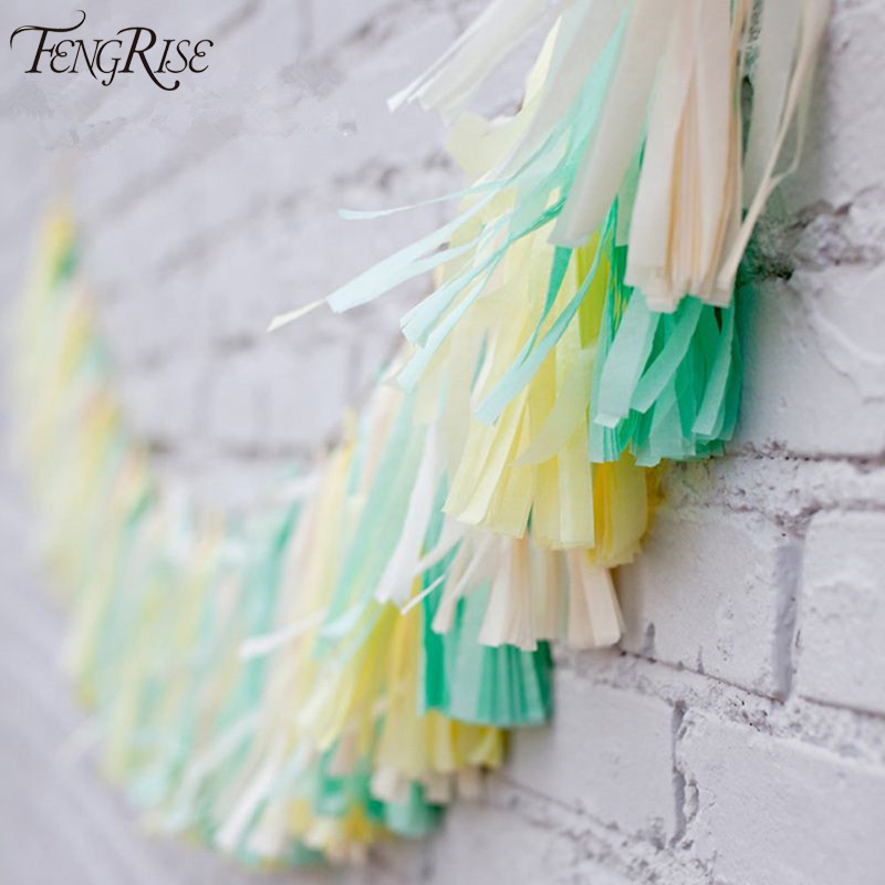 FENGRISE Wedding Decoration 5Pcs Tissue Paper Tassels Garland Ribbon Balloons Bi