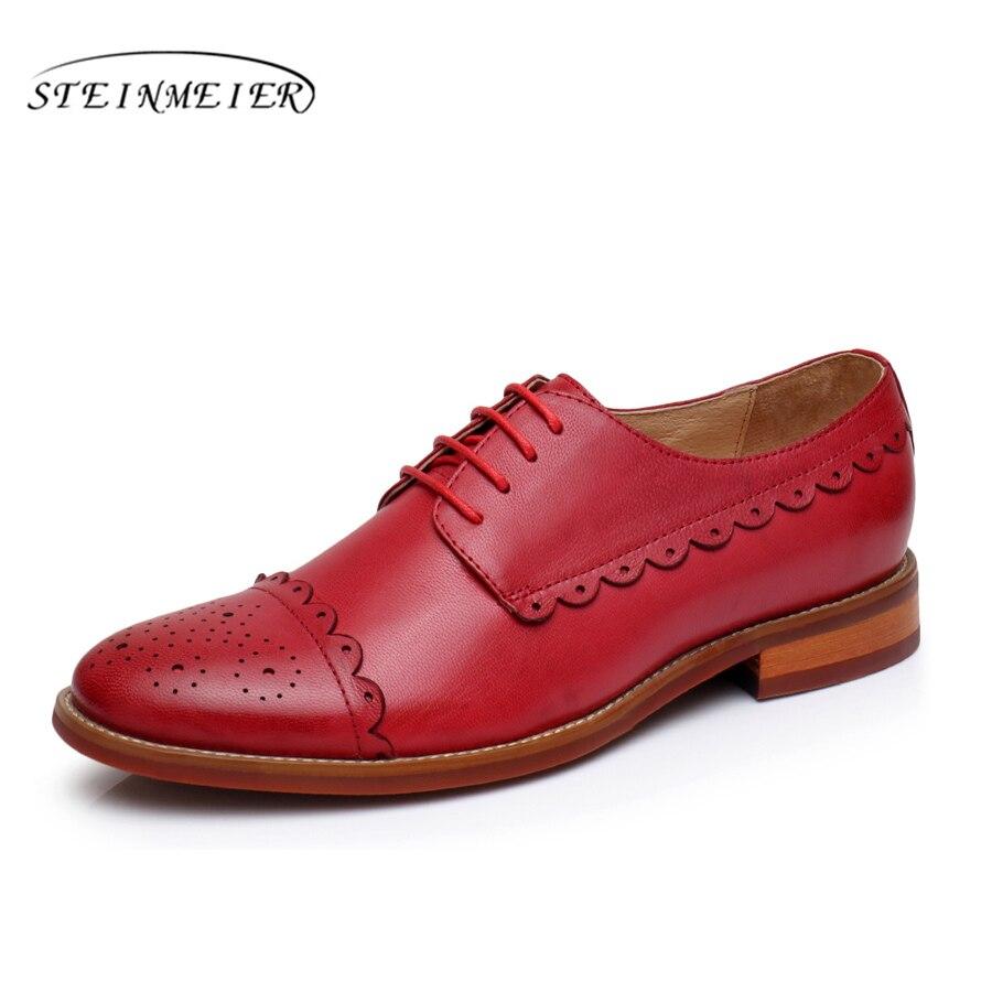 Echtem Schaffell Leder Brogue Yinzo Damen Wohnungen Quaste Schuhe Handgemachte Vintage Oxford Schuhe Für Frauen 2018 Winter Rot Gelb Klar Und Unverwechselbar