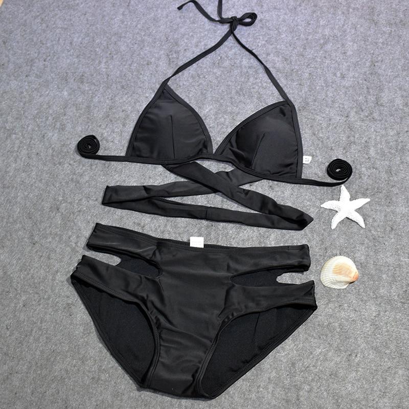 QIANG YI 2017 Bandage Sexy Bikini set Women Swimwear Swimsuit Push Up Cross Hollow Halter Bathing Suit Beach Padded Summer Style 1