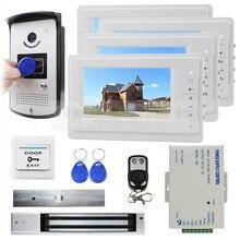 DIYSECUR Control Remoto + Cerradura Magnética + 7 pulgadas de Monitor Videoportero Intercom Timbre de 700 Líneas de TV Cámara RFID Keyfobs