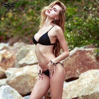 NAKIAEOI Sexy Micro Bikini Swimwear Women Swimsuit 2019 New Halter Brazilian Bikini Set Beach Bathing Suits Swim Wear Biquini 1