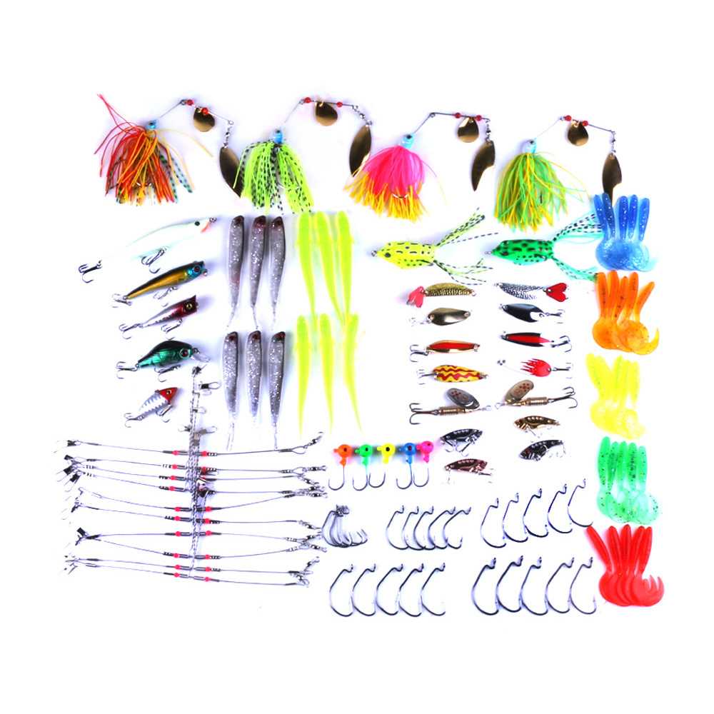 102pcsfishing tackle fishing set lure kit fishing lures set kits soft metal hard lure spinner bait saltwater trout fishing hooks afishlure hard lures baits popper 118mm 18g artificial fishing tackle swimbait hard lure for carp fishing trout plastic fishing