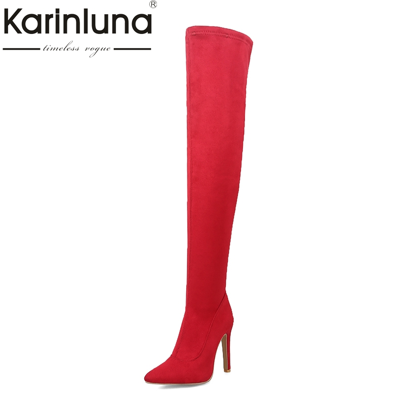 KarinLuna Brand Design Plus Size 31-43 Pointed Toe Women Shoes Sexy Thin High Heels Over The Knee Boots Party Shoes