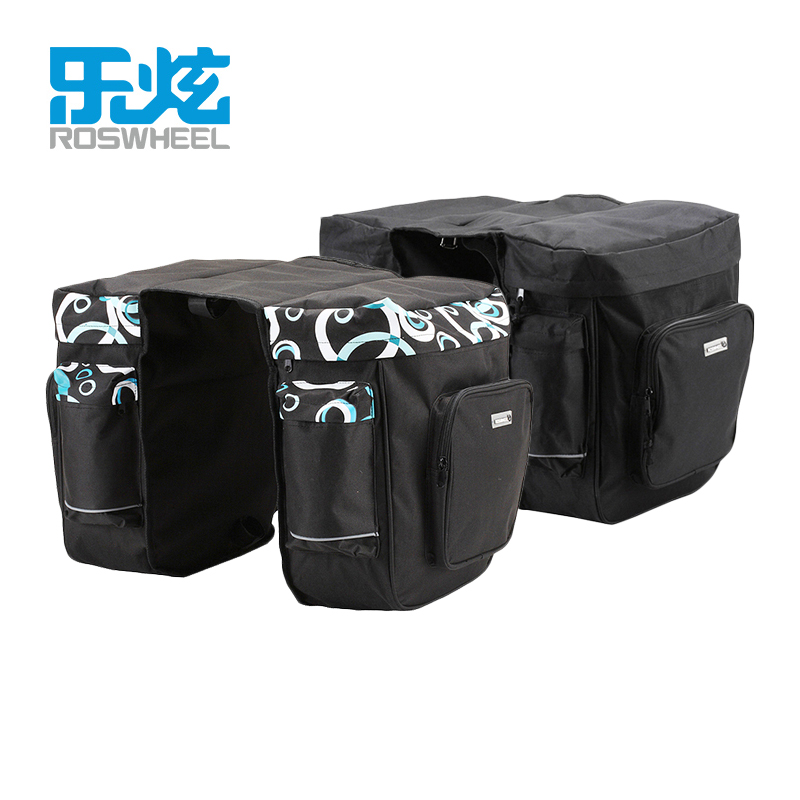ROSWHEEL 30L Rear Rack Trunk Bike Luggage Back Seat Pannier Two Double Bags Bicycle Carrier Bag Outdoor Cycling Saddle Storage