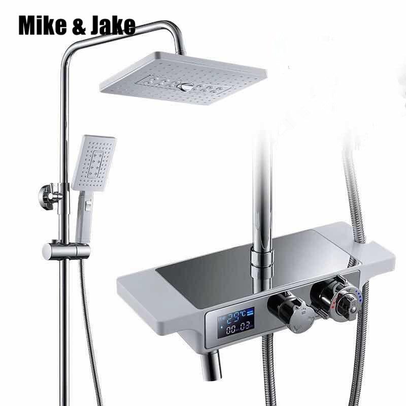 Branco termostática conjunto de chuveiro chuvas bathroo luxo banheira chuveiro misturador do chuveiro conjunto branco banho chuveiro torneira quente e fria conjunto