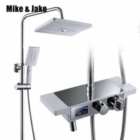 Thermostatic white shower set rainfall bathroo shower luxury bathtub shower mixer set white Bath Shower hot cold Faucet set