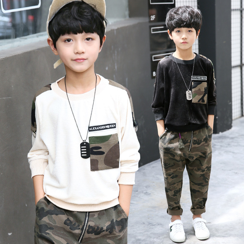 Autumn Brand Military Fashion Suits Set Big Boys Clothing 2 Pieces Set for Kids Sets Pocket Camo New 2017 Long Sleeve Hood Suits wholesale new fashion autumn casual sport suits tracksuits for kids gold chain printing hip hop outwear boys clothing sets